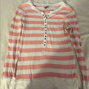 Roxy white and coral button up shirt